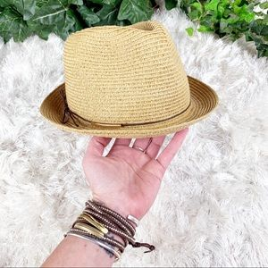 Woven Paper Straw Fedora w/ Leather Cord & Bead